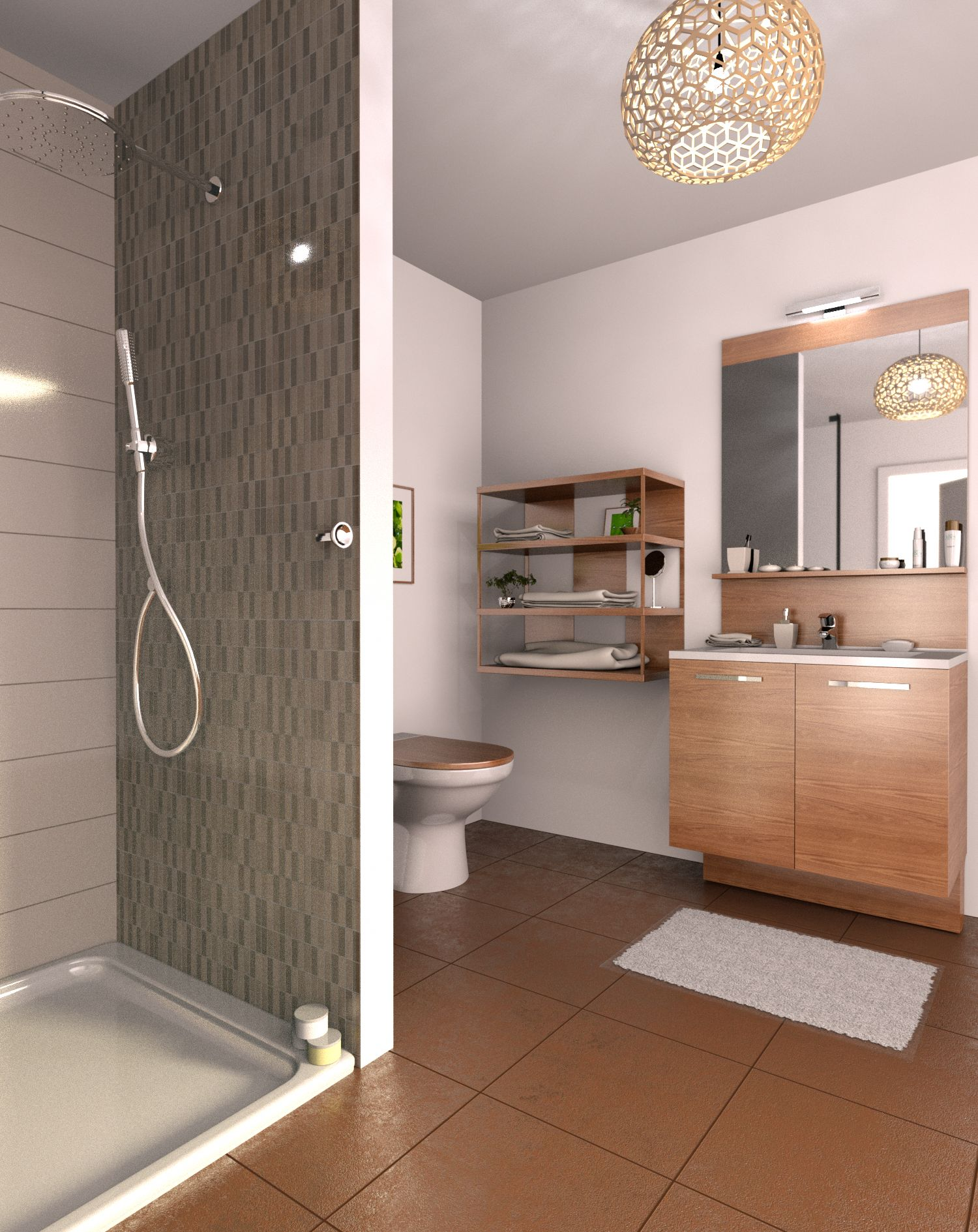Bathroom with tile shower01Bathroom remodel   Plan your own bathroom in 3D with Cedar Architect. Remodeling Your Own Bathroom. Home Design Ideas