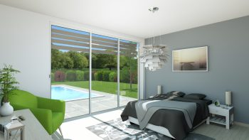 Bedroom with a pool view - Interior Design